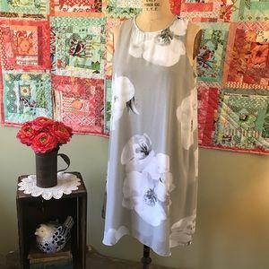 Calvin Klein Gray Floral Dress